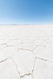 Hexagonal shapes on the Uyuni Salt Flat, Bolivia Stock Photos