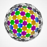 Hexagonal sphere center colored composition vector Royalty Free Stock Images