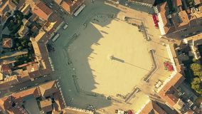 Hexagonal square in the center of Palmanova Italy. Aerial top down view of the hexagonal square in the center of Palmanova stock video