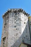 Hexagonal Stone Block Tower, Diocletian`s Place, Split, Croatia. Detail of historic original Ancient Roman architecture, a stone block hexagonal tower stock image