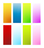 Hexagonal texture glossy banners. Vector illustration of eight colorful hexagonal texture banners with glossy shine effect. Highly detailed technological look Stock Image