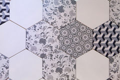 Hexagonal tile mosaic background design Royalty Free Stock Photo