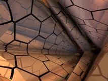Hexagonal Tubes Abstract Fractal Design. Hexagonal Tubes abstract fractal science fiction design for textures, backgrounds and wallpapers royalty free illustration