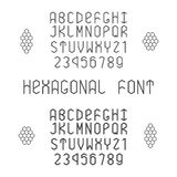 Hexagonal vector font with numerals in normal and bold style Stock Photo