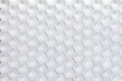 Hexagonal wall texture surface. White abstract pattern background. Royalty Free Stock Photos