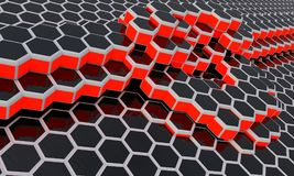Hexagonal waves electromagnetic, 3d. Render Stock Image