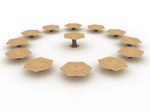 Hexagonal wooden table №1 Stock Images