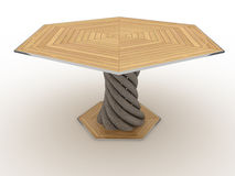 Hexagonal wooden table №3 Royalty Free Stock Photography