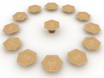 Hexagonal wooden table №4 Royalty Free Stock Images