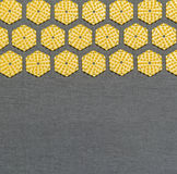 Hexagonal yellow disks on gray background Royalty Free Stock Image