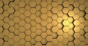 Hexagonale Gouden Lijn Als achtergrond stock videobeelden
