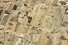 Hexagonale kolommen van vulkanische oorsprong in Hong Kong Global Geopark in Hong Kong, China stock afbeelding
