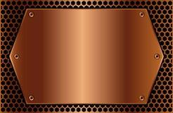 Hexagonale koperplaque Royalty-vrije Stock Afbeeldingen