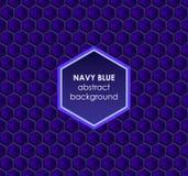 Hexagonale marineblauwe abstracte achtergrond Stock Foto's