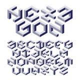 Hexagonalphabet gemacht von den unmöglichen Formen vektor abbildung