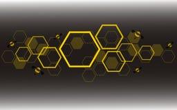 Hexagonbienenbienenstock-Designkunst und Raumhintergrundvektor Lizenzfreie Stockfotos