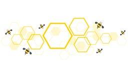 Hexagonbienenbienenstock-Designkunst und Raumhintergrundvektor Lizenzfreie Stockbilder