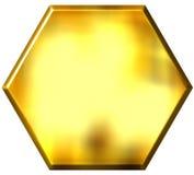 hexagone 3d d'or Photos libres de droits