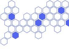 Hexagone bleu sur le modèle blanc de mur de fond images libres de droits