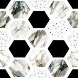 Hexagone d'aquarelle avec des rayures, marbre de couleur d'eau, textures granuleuses, grunges, de papier Photos libres de droits