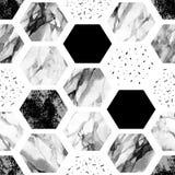 Hexagone d'aquarelle avec des rayures, marbre de couleur d'eau, textures granuleuses, grunges, de papier Photo stock