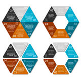 Hexagone de cercle infographic avec 6 options Images stock