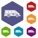 Hexagone réglé de emergency van icons d'ambulance illustration libre de droits