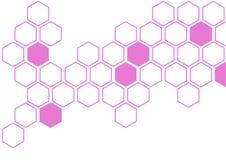 Hexagone rose sur le modèle blanc de mur de fond photographie stock
