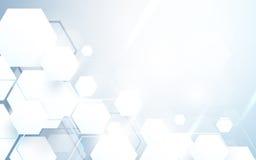 Hexagones blancs abstraits répétant et fond futuriste de concept de technologie illustration stock