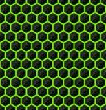 Hexagones de pierre noire avec les filets verts de l'énergie Texture sans joint de vecteur Configuration sans joint de technologi Photographie stock libre de droits