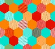Hexagones rayés simples abstraits colorés modèle sans couture géométrique, vecteur Images stock