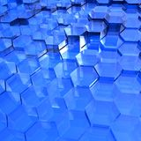Hexagones transparents bleus Images libres de droits