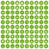 Hexagongrün mit 100 on-line-Einkaufsikonen Stockfotos