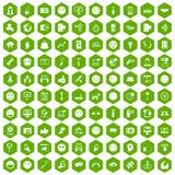Hexagongrün mit 100 Social Media-Ikonen Stockfoto