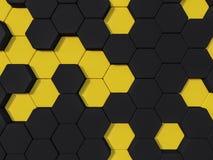 Hexagonhintergrund Zusammenfassung 3d Honeyomb gelber schwarzer Stockfoto