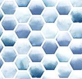 Hexagonmuster von blauen Farben auf weißem Hintergrund Nahtloses Muster des Aquarells Stockfoto