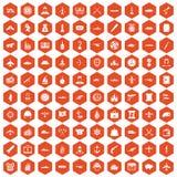 Hexagonorange mit 100 Kampffahrzeug-Ikonen Lizenzfreie Stockfotografie