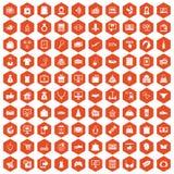 Hexagonorange mit 100 on-line-Einkaufsikonen Stockbild