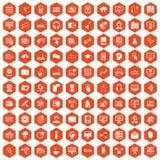 Hexagonorange mit 100 on-line-Seminarikonen vektor abbildung