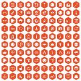 Hexagonorange mit 100 Social Media-Ikonen Lizenzfreies Stockfoto