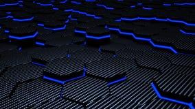 Hexagons άνθρακα φωτεινότητας μπλε φουτουριστικό τρισδιάστατο υπόβαθρο απεικόνισης Στοκ φωτογραφία με δικαίωμα ελεύθερης χρήσης