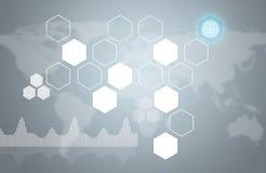 Hexagons, παγκόσμιος χάρτης και γραφικές παραστάσεις Στοκ Φωτογραφίες