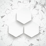3 Hexagons Abstract Background Connected Dots. Abstract background with connected dots and 3 paper hexagons Stock Photography