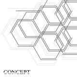 Hexagons abstract background. Geometric science and technology motion design. Digital data visualization concept. Scientific vector illustration Royalty Free Stock Photo