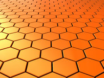 Hexagons background. Abstract 3d illustration of orange hexagons background royalty free illustration