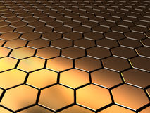 Hexagons background. Abstract 3d illustration of golden pattern background Royalty Free Stock Photo