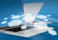 Hexagons on background laptops with effect depth Royalty Free Stock Photography