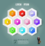Hexagons beehive style template with icons. royalty free illustration