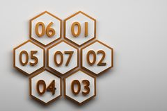 Hexagons with big golden numbers. Seven white hexagonal shapes with golden outline and golden numbers located over white plain surface. Image with copy space royalty free illustration