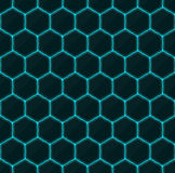 Hexagons of black stone with blue streaks of energy. Seamless vector texture. Technology seamless pattern. Stock Images